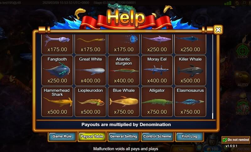 fishermen gold paytable